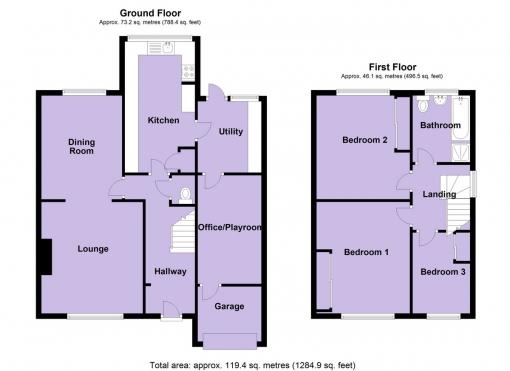 3 bedroom semi-detached house for sale Floorplan